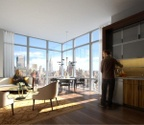 Midtown West 1 Bedroom with Entrance Foyer, Washer/Dryer, Manhattan and Hudson River Views. 1 Month Free and No Broker Fee.